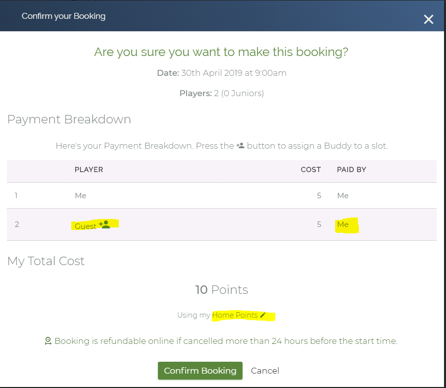 create a buddy booking use their points